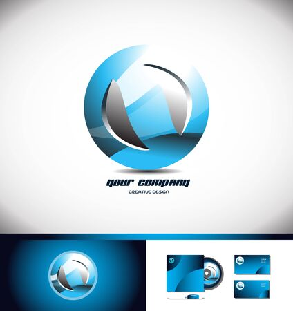 Vector company logo icon element template sphere abstract circle blue 3d concept globe, global