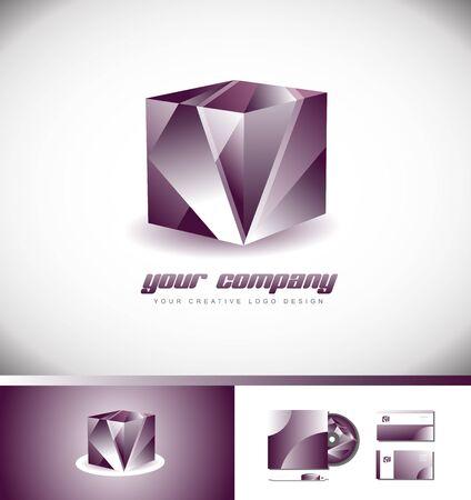 Vector compagnie logo icône élément modèle cube illustration 3d violet rose conception