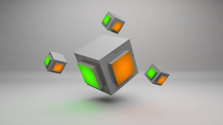 to gravity: Abstract 3d cube rendering design wallpaper background design concept