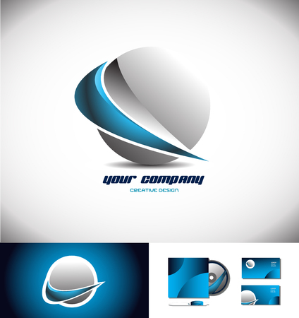 blue sphere: Vector company logo icon element template 3d sphere blue grey silver swoosh design
