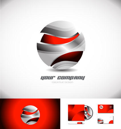 red sphere: Vector company logo icon element template metal metallic grey red sphere 3d games media business corporate Illustration