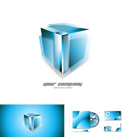 Vector logo icône élément modèle transparent cube bleu 3d jeux de conception des médias d'affaires des entreprises