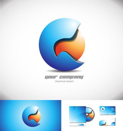 blue sphere: Vector company logo icon element template blue orange 3d sphere design media games corporate business Illustration