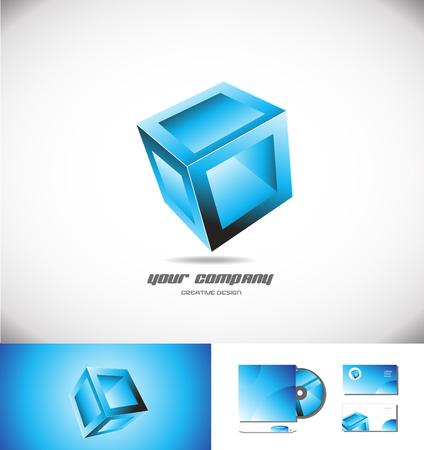 cube box: Vector company logo icon element template blue 3d cube box design games media entertainment