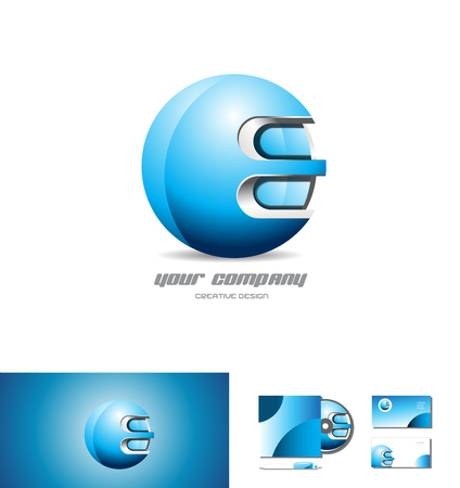 metal sphere: Blue metal sphere vector company logo icon element template 3d design corporate Illustration