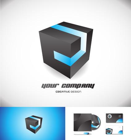 noir cube logo icône élément modèle 3d entreprise de vecteur de conception de jeux de bandes bleu médias d'affaires des entreprises