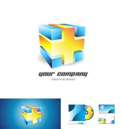 Bleu d'orange logo cube design 3d abstrait entreprise icône vecteur entreprise de médias de jeux de modèle d'élément