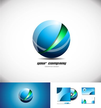 red sphere: Red green abstract sphere logo design 3d icon vector company element template games media corporate globe global