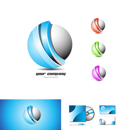 blue sphere: Corporate business sphere blue red green purple logo design 3d icon vector company element template
