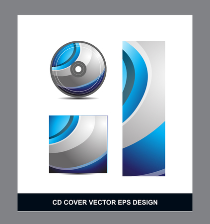 dvd cover: Blue silver grey gradient Cd Dvd cover movie music vector template design illustration for business