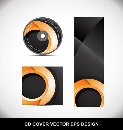 dvd cover: Cd Dvd cover movie music vector template design illustration for business orange circle Illustration