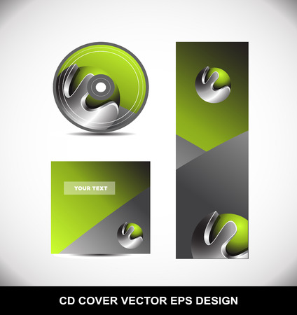 dvd cover: Green metal metallic silver grey Cd Dvd cover movie music vector template design illustration for business