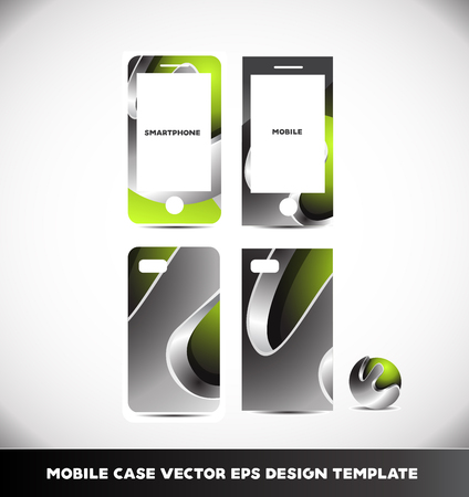 front and back: Green metal metallic silver grey mobile phone case cover smartphone  abstract layout design template vector front back