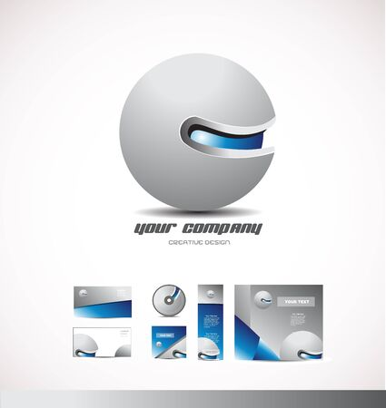 blue sphere: Corporate  business grey blue sphere design 3d icon company element template