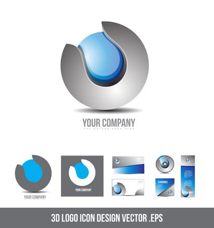 blue sphere: Corporate  business grey blue  sphere design 3d icon company element template Illustration