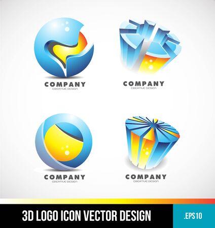 blue sphere: Corporate business blue orange sphere pie chart 3d design  icon company element template