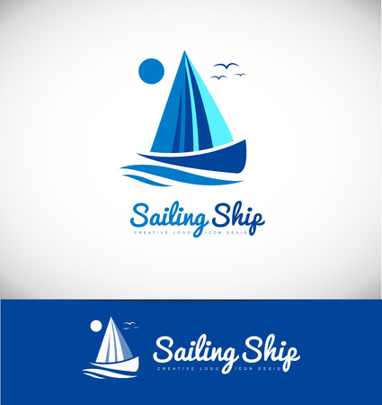 yachting: Sailing boat ship yacht yachting  icon design blue flat