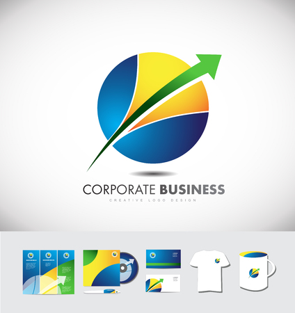 t shirt blue: Circle sphere arrow corporate business icon design  identity set cd brochure  card t shirt cup