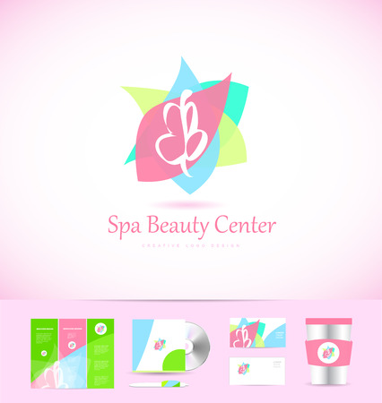 beauty center: Spa beauty center abstract sign butterfly icon design corporate identity set cd brochure business card Illustration