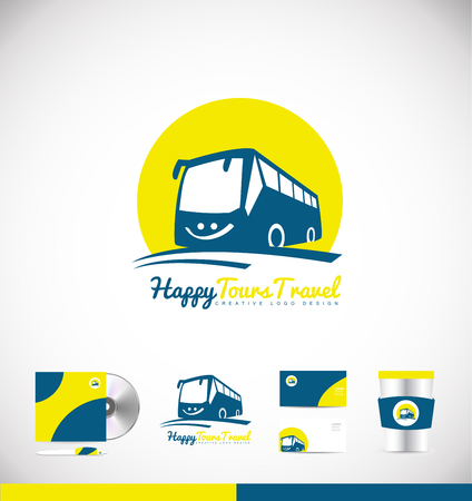 Bus travel travelling agency tourism vector logo icon sign design template corporate identity Stok Fotoğraf - 68864910