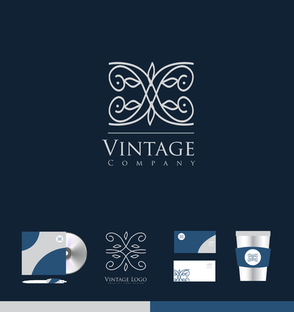lineart: Vintage lineart monogram floral icon sign design template corporate identity Illustration