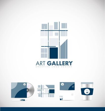 art painting: Abstract painting art gallery icon sign design template corporate identity