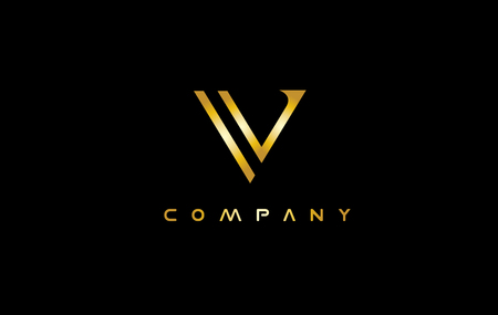 Alphabet letter V gold golden luxury jewellery jewelry vector logo icon sign design template