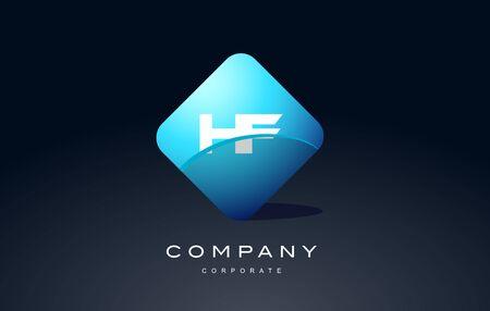 hf: hf alphabet letter blue hexagon 3d combination modern vector logo icon sign design template