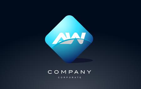 aw alphabet letter blue hexagon 3d combination modern vector logo icon sign design template
