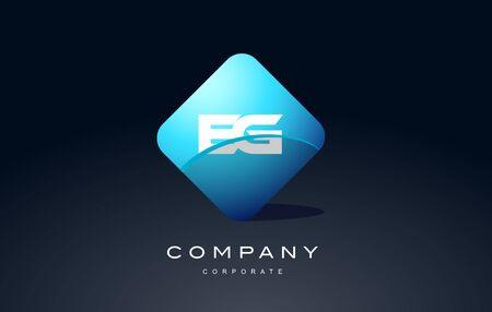 eg: eg alphabet letter blue hexagon 3d combination modern vector logo icon sign design template Illustration