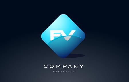 fv: fv alphabet letter blue hexagon 3d combination modern vector logo icon sign design template