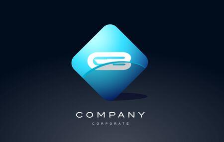 gb: gb alphabet letter blue hexagon 3d combination modern vector logo icon sign design template