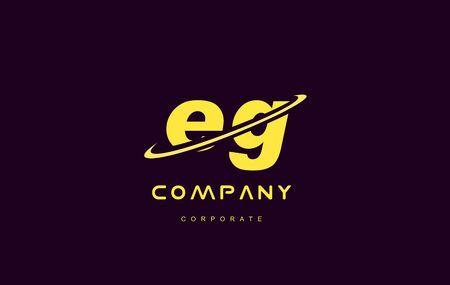 eg: eg alphabet small letter combination purple yellow swoosh modern creative vector logo icon sign design template