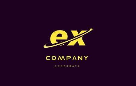 ex: ex alphabet small letter combination purple yellow swoosh modern creative vector logo icon sign design template Illustration