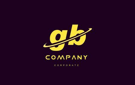 gb: gb alphabet small letter combination purple yellow swoosh modern creative vector logo icon sign design template