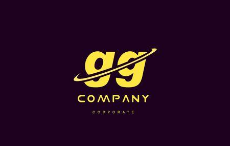 Combinaison petite lettre alphabet gg violet swoosh jaune moderne icône créative logo signe vecteur modèle de conception Banque d'images - 70974484