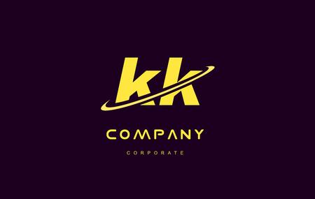kk alphabet small letter combination purple yellow swoosh modern creative vector logo icon sign design template