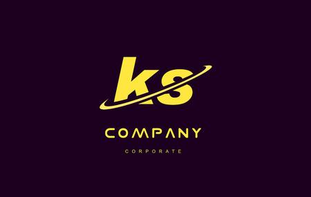 ks alphabet small letter combination purple yellow swoosh modern creative vector logo icon sign design template