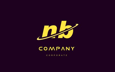 nb: nb alphabet small letter combination purple yellow swoosh modern creative vector logo icon sign design template