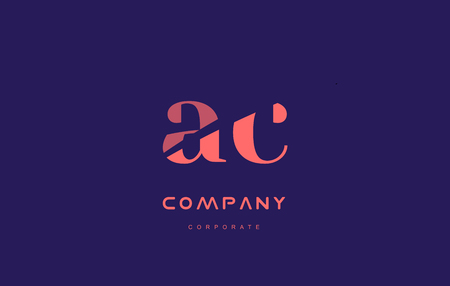 ac: c a ac alphabet small letter blue pink creative design company icon template