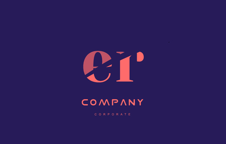 er: r e er alphabet small letter blue pink creative design company icon template
