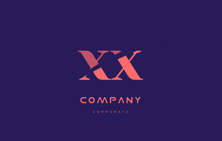 xx: x x xx alphabet small letter blue pink creative design company icon template