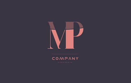 mp: mp m p vintage retro pink alphabet company blue grey letter logo design creative vector icon template