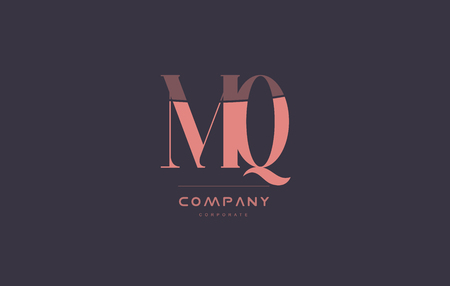 mq m q vintage retro pink alphabet company blue grey letter logo design creative vector icon template