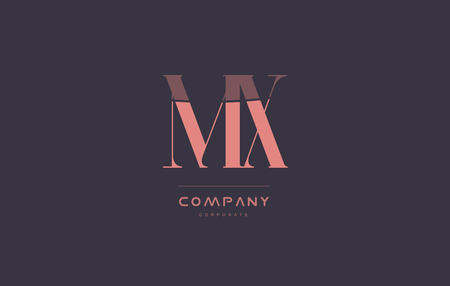 mx: mx m x vintage retro pink alphabet company blue grey letter logo design creative vector icon template