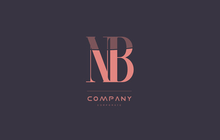 nb: nb n b vintage retro pink alphabet company blue grey letter logo design creative vector icon template Illustration