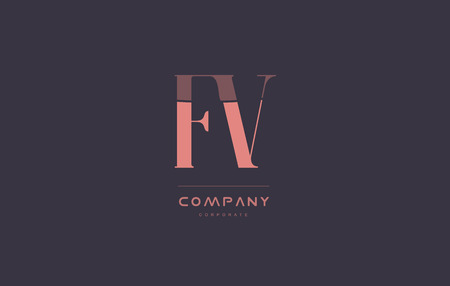 fv: fv f v vintage retro pink alphabet company blue grey letter logo design creative vector icon template