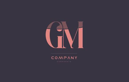 gm: gm g m vintage retro pink alphabet company blue grey letter logo design creative vector icon template