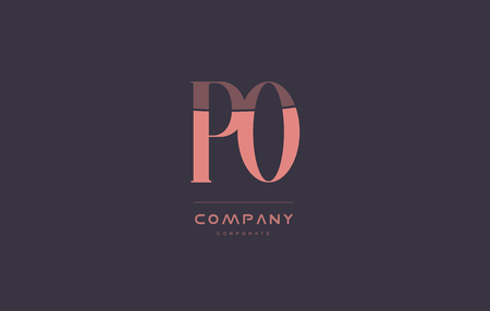 po: po p o vintage retro pink alphabet company blue grey letter logo design creative vector icon template