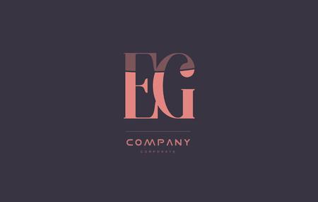 eg: eg e g vintage retro pink alphabet company blue grey letter logo design creative vector icon template
